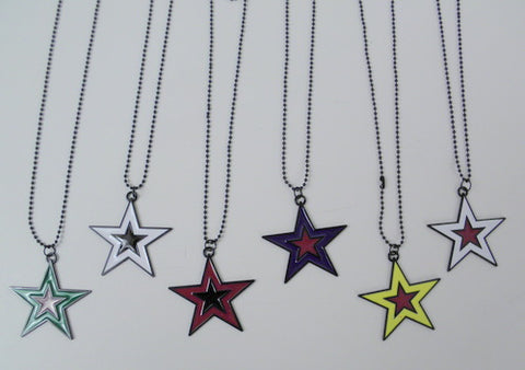 Assorted Color Star Necklace