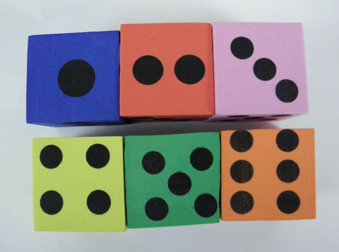 Assorted Color Foam Dice 3.8cm (Dozen)