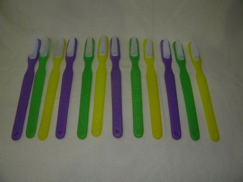 "11"" Plastic Toothbrushes Assorted Purple, Green and Gold (Dozen)"