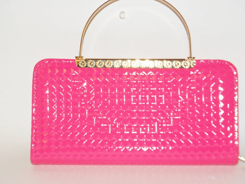 Hot Pink Vinyl Wallet Purse with Gold Handle (Each)
