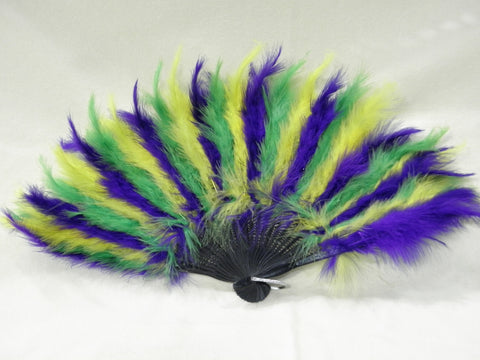 Purple, Green and Gold Feather Fan (Each)