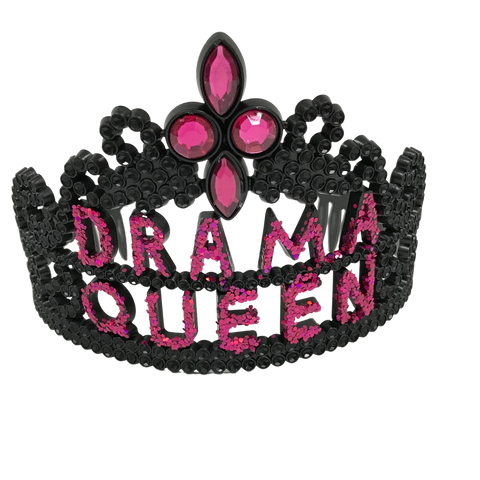 Black and Hot Pink Drama Queen Tiara (Each)