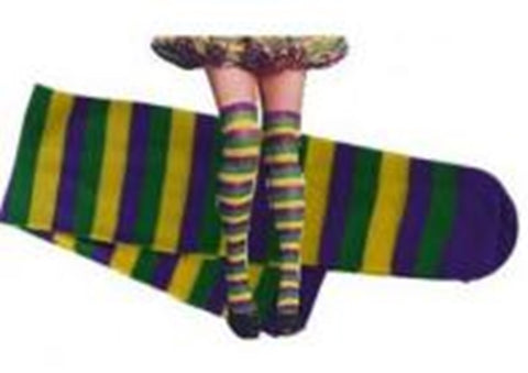 Mardi Gras Striped Knee High Socks (Pair)