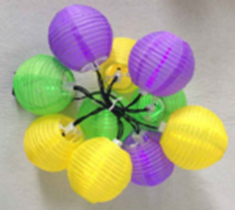 Purple, Green and Gold Round Paper Lantern String of 10 Lights (Each)