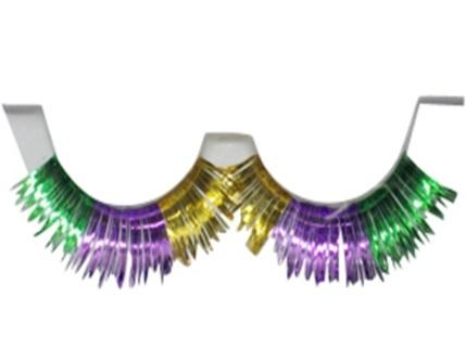 Purple, Green and Gold Mardi Gras Eyelashes (Pair)