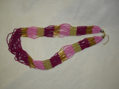 Hot Pink Beaded Necklace (Each)