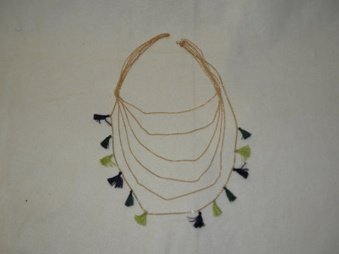 Gold Necklace with Alternating Purple, Green and Yellow Tassels (Each)