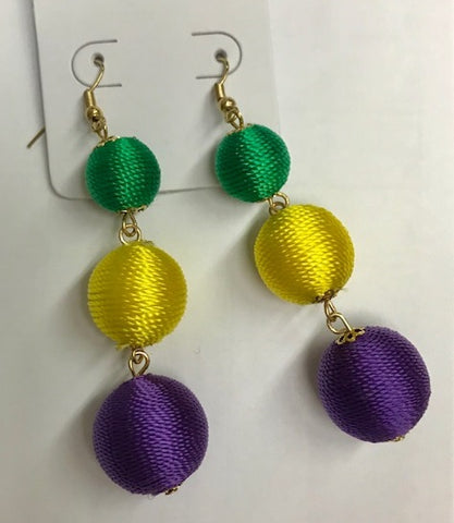 Purple, Green and Yellow Ball Earrings (Pair)