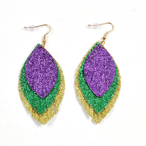 Purple, Green and Gold Glitter Leaf Earrings (Each)