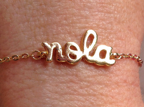 Gold Plated NOLA Charm Bracelet with 1.8mm Flat Oval Cable Chain (Each)