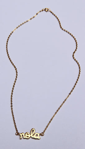 Gold Plated NOLA Charm Necklace with 1.8mm Flat Oval Cable Chain (Each)