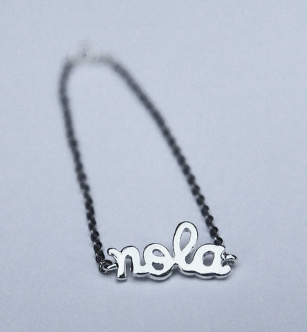 "Silver Plated ""NOLA"" Charm Bracelet with 1.8mm Flat Oval Cable Chain (Each)"