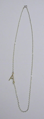 "16"" Alpha Line Gold Plated Pewter Necklace with 1.8mm Flat Oval Cable Chain ""A"" (Each)"