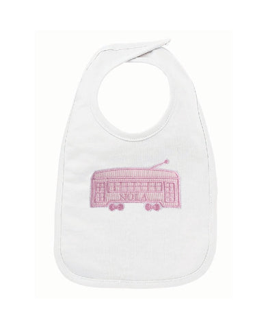 White Bib with Pink Streetcar (Each)
