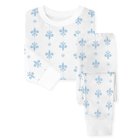Blue Fleur de Lis Organic Cotton Pajama Set (Each)