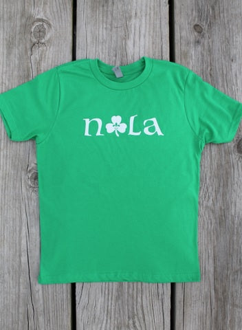 "Green ""NOLA"" Shamrock with Fleur de Lis Kid's T-Shirt (Each)"