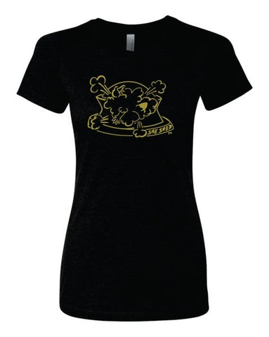 Metallic Gold She Shed on Relaxed Fit Black Crew Neck Shirt (Each)