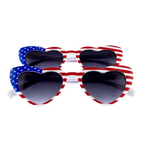 American Flag Heart Frame Sunglasses (Each)