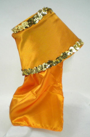 Orange Costume Hat with Gold Sequin Trim (Each)