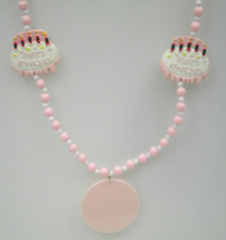 "38"" 7mm Pink Birthday Cake Bead with Pink Medallion (Case - 10 Dozen)"