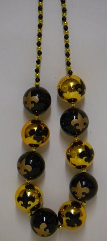 "48"" 60mm Fleur De Lis Black and Gold Balls (Each)"