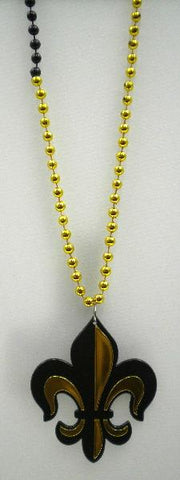 "33"" 7mm Black and Gold Necklace with Fleur de Lis Badge (Dozen)"