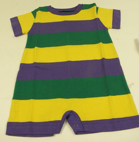 Purple, Green, and Gold Polo Stripe Baby's Romper (Each)