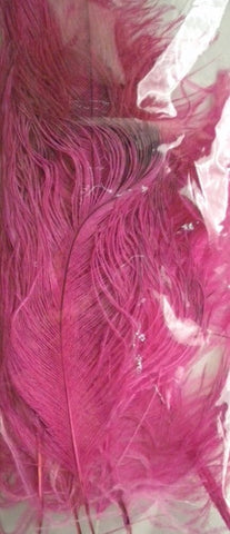 "Hot Pink Ostrich Feather Plume 24"" (6 Plumes)"