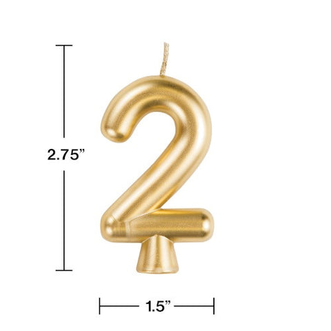 "Gold ""2"" Number Candle (Each)"