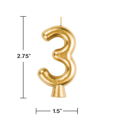 "Gold ""3"" Number Candle (Each)"
