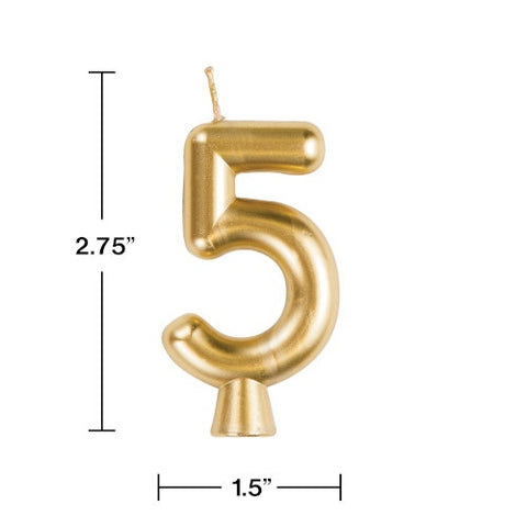 "Gold ""5"" Number Candle (Each)"