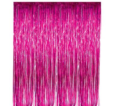 Fuchsia Foil Fringe Curtain (Each)