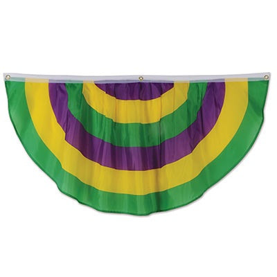 Purple, Green and Yellow Fabric Bunting 4' with 3 gromets (Each)