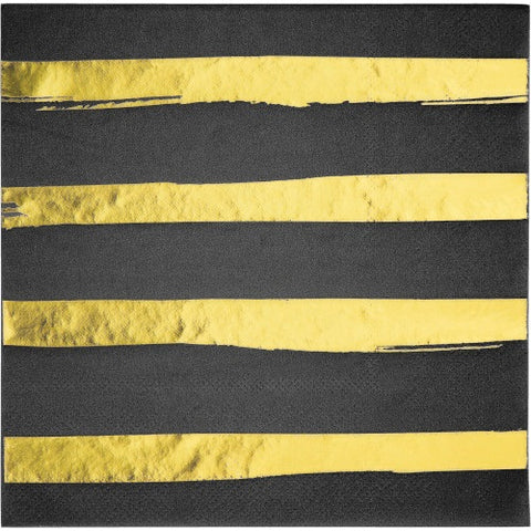 Black Velvet with Gold Foil Stamp Luncheon Napkins, 16CT (Pack)
