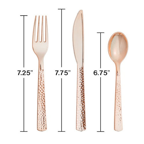 Hammered Rose Gold Plastic Cultery Set (Pack)