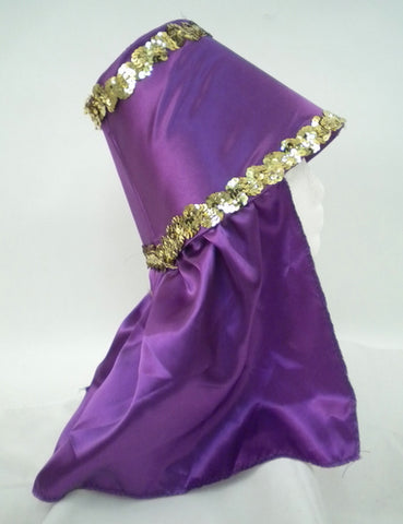 Purple Costume Hat with Gold Sequin Trim (Each)
