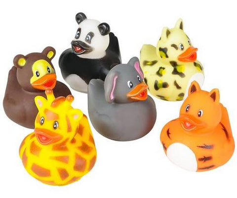 "2"" Zoo Animal Rubber Ducky - 6 Assorted Colors (Dozen)"
