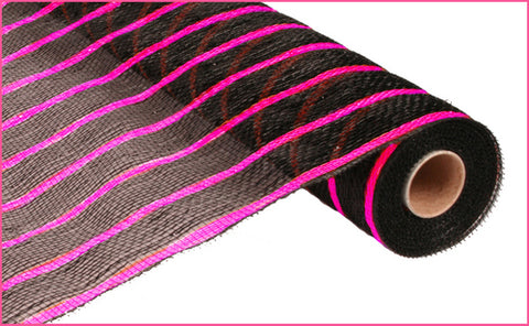 "2"" x 10yds Deluxe Metallic Stripe - Wide Black/Thin Black w/ Metalic Hot Pink Mesh (Each)"