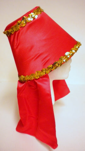 Red Costume Hat with Gold Sequin Trim (Each)
