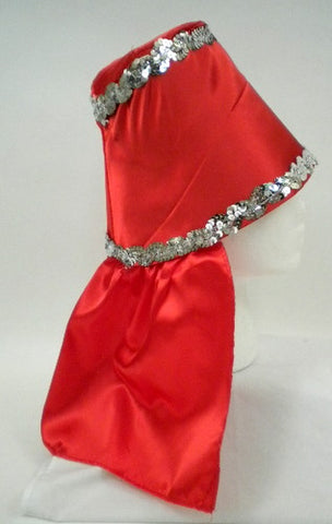 Red Costume Hat with Silver Sequin Trim (Each)
