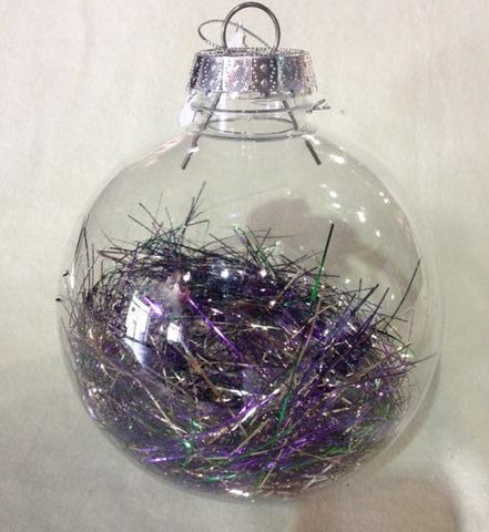 "Hanging Mardi Gras Ornament with Tinsel 5"" (Each)"