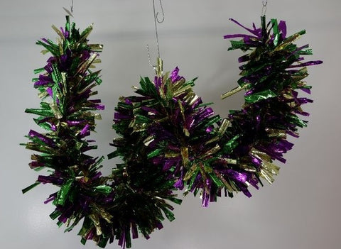 "'Purple, Green and Gold Big Garland 10"" x 9''  (Each)'"