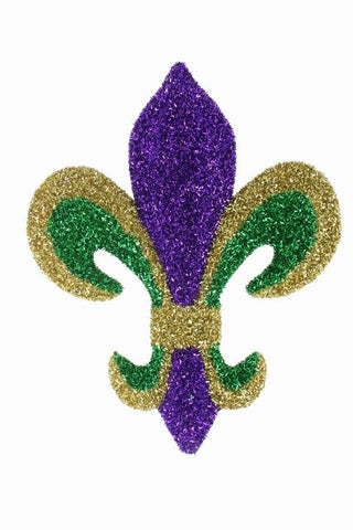 "Tinsel Fleur de Lis Purple, Green and Gold 16"" x 12"" (Each)"