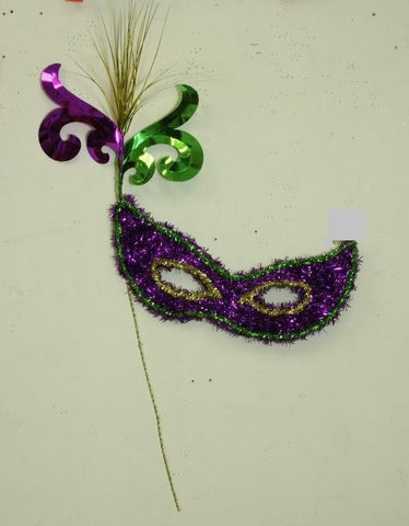 "Mask Purple, Green and Gold with Tinsel Onion Grass 20"" x 28"" (Each)"