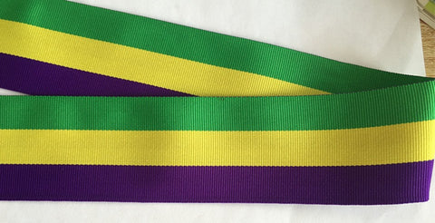 "2"" Purple, Green and Gold Grosgrain Ribbon - 6 Yards (Each)"