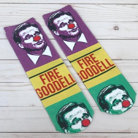 "Purple, Green and Yellow Fire ""The Clown"" Socks (Pair)"