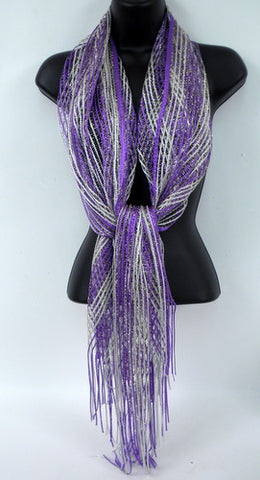 Silver and Purple Striped Scarf (Each)