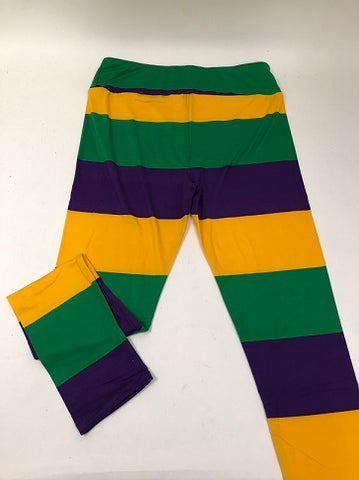 Purple, Green, and Yellow Leggings - Adult One Size (Each)