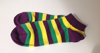 Purple, Green, and Yellow Ankle Socks (Each)