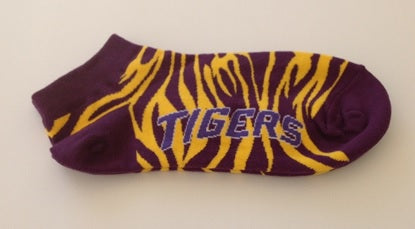 Purple and Gold Tiger Stripe Ankle Socks (Each)